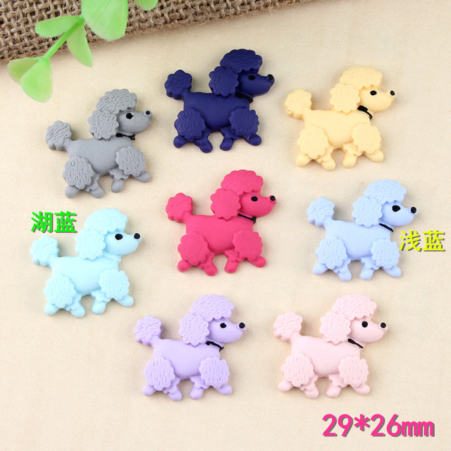 10pcs 29*26mm Small poodle charms dog puppy imitation fabric resin craft parts mobile phone beauty material DIY hair accessorie