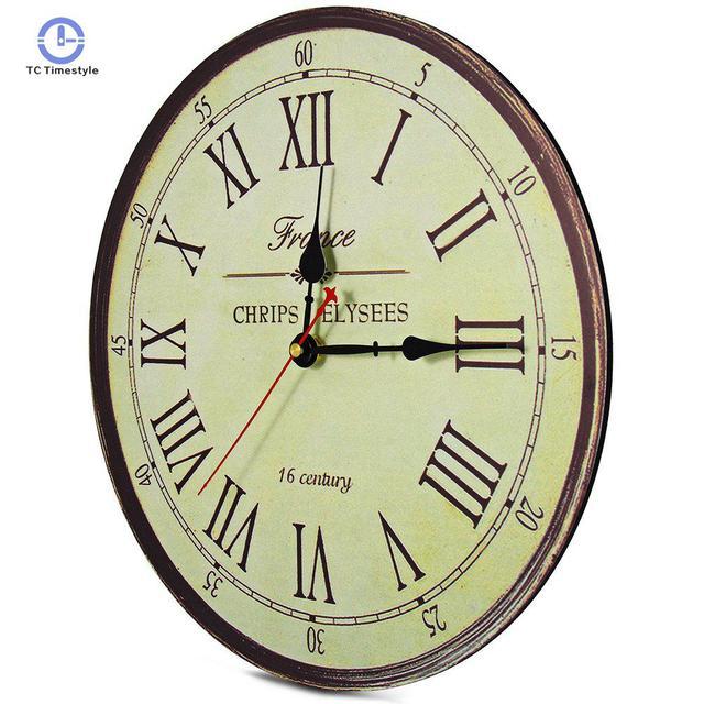 Wall Clock Rustic Vintage Style Wooden Round Clocks Large Art Home Decor Roman Numeral Moldern Design