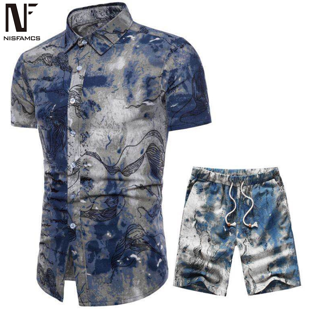 Party Floral Print Suit Men Fitness Hip Hop Streetwear Casual Novelty Set Harajuku Plus Size Elegant Beach Tracksuit 2019 Sets