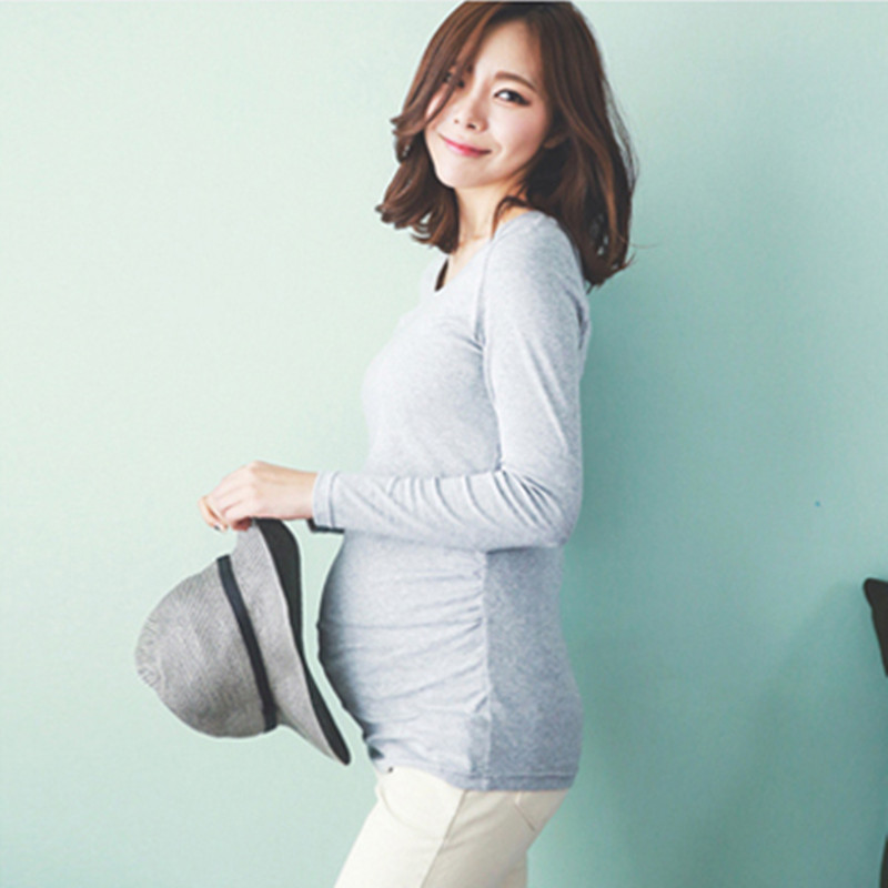 elegant Tshirt clothing for pregnant women Maternity t-shirt top Long sleeve Tee Blouse garment for pregnancy clothes B0341