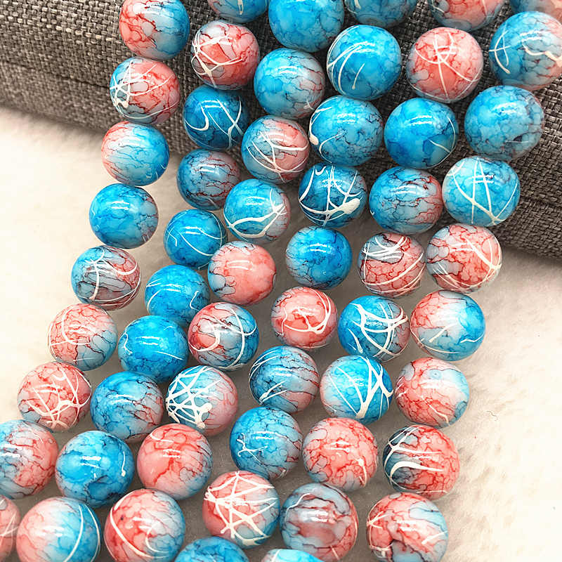 Wholesale 4/6/8/10mm Glass Beads Round Loose Spacer Beads Pattern For Jewelry Making DIY Bracelet Necklace