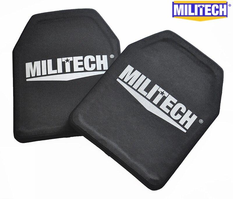 MILITECH Due Pezzi Set 2.6 kg Peso Leggero Alumina & PE NIJ IV Bulletproof Panel Al2o3 NIJ livello 4 Stand-Alone Pannelli Balistici