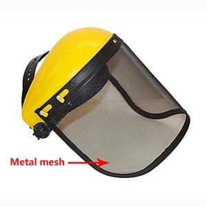 Image 1 - Металлическая Сетчатая Маска на все лицо, защитный козырек, защитный шлем, шляпа для бензопилы, щетки, резак, лесная газонокосилка, защитная маска для рабочей силы