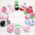 Comércio por grosso não-slip bela flor de algodão princesa menina meias sapatinhos de bebê meias