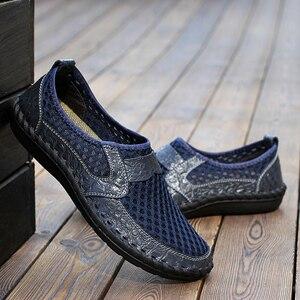 Image 4 - 2019 letnie oddychające buty z siatką męskie obuwie codzienne oryginalne skórzane Slip On marka moda letnie buty człowiek miękkie wygodne