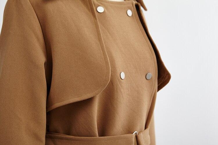 Femmes Pour Slim Manteau apricot Long Mode Marine Abricot khaki 2017 Black Tranchée Style Nouvelle Kaki Trench Manches Automne Complet Noir navy Moyenne FwxI4xXq