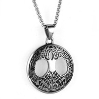 High Quality Stainless Steel Pendant Nordic Vikings Amulet The Tree Of Life Necklace Men Titanium Nordic