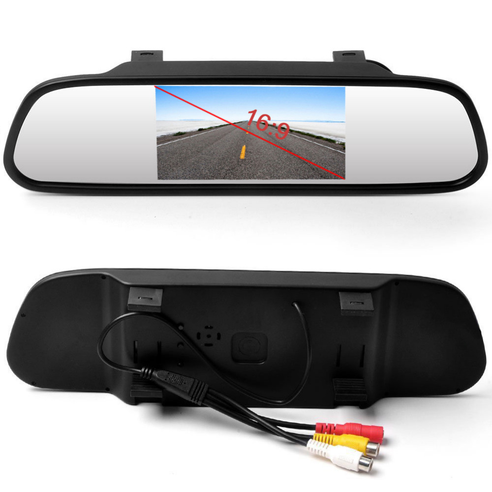 AMPrime 4.3 Inch Car HD Rearview Mirror Monitor CCD Video Auto Parking Assistance LED Night Vision Reversing Rear View Camera