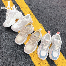 Купить с кэшбэком Platform Shoes Women Sneakers Trainers Genuine Leather Thick Sole Shoes Lace Up Women Flats Shoes Casual Shoes Zapatos Mujer