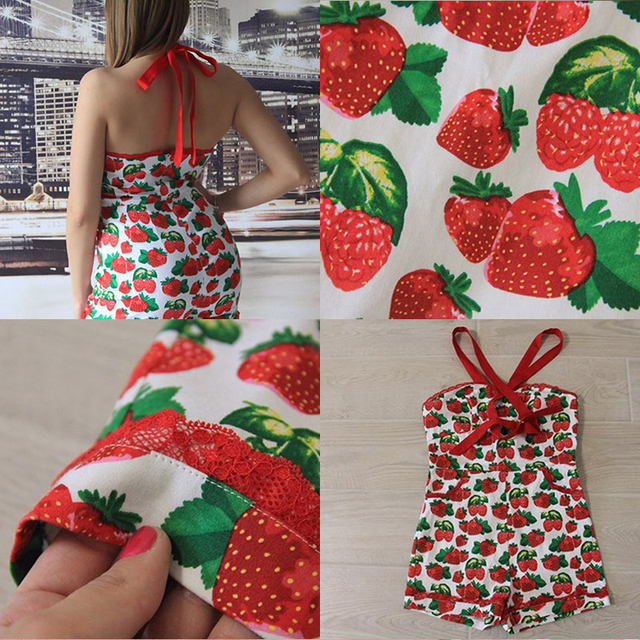 Sisjuly summer women vintage suspenders jumpsuit shorts pocket pin up strawberry printing 2017 sexy party beauty girl jumpsuit