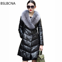 4xl Black Real Leather Jacket Women Female Elegant Fox Hair Collar Sheep Clothes Genuine Leather Down Winter Woman Coat A260