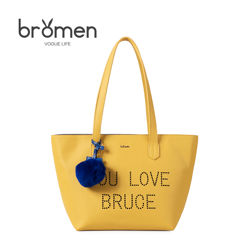 Bromen Summer Candy Color Women Tote Bags 2018 Fashion Casual Ladies Pu Leather Brand Design Simple Yellow Shopping Shoulder Bag sweet women s tote bag with color block and pu leather design