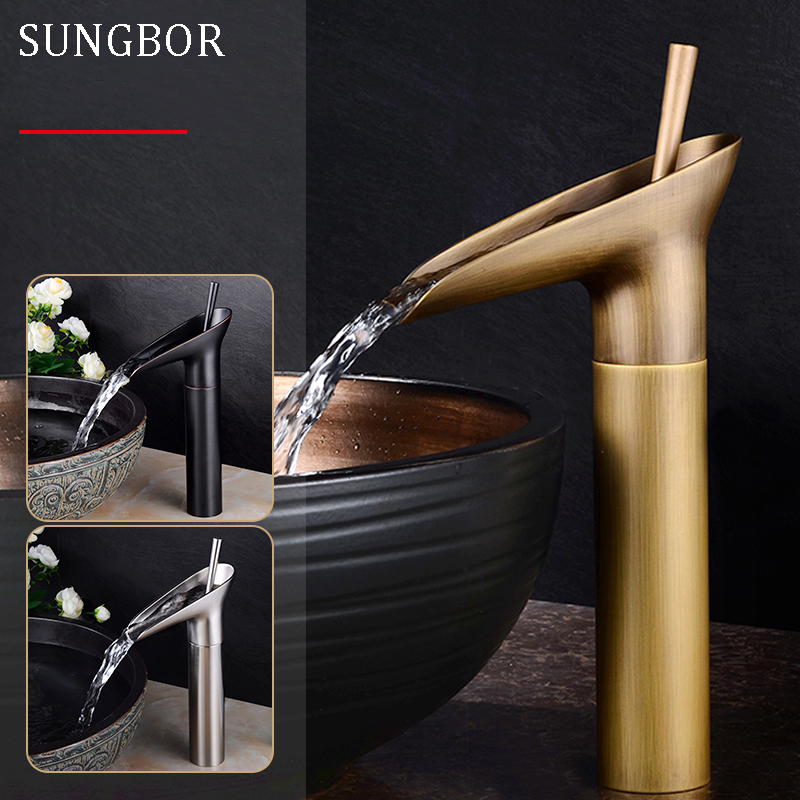 Wine Glass style Single Lever waterfall Bathroom Basin font b Faucet b font Brass Antique Hot