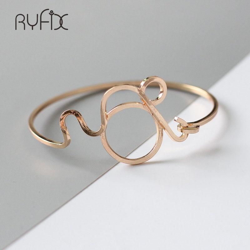 Simple Geometry Open Bracelets Stainless Steel Hollow Out Cuff Cute Bracelet Pulseira Feminina Braslet For WomenYS33