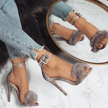 Europe  Sexy Woman Sandals 2019 Summer New Fur High Heels Sandals Women Leopard Print  Ankle Strap Party Shoes Plus Size 35-43 karinluna big size 32 43 ankle strap women shoes colorful printing bohemia wedge high heels summer sandals party shoes woman