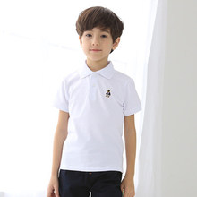 2018 Boys Solid Summer Polo Shirts Cotton Short Sleeve Turn-down Collar Buttoned Sports Tees No Fade School Children Clothing(China)