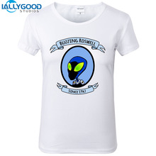 New Summer Fashion Funny Alien Commander T-Shirts Women Cool Printed Alien T Shirt Short Sleeve Soft Cotton White Top S1435