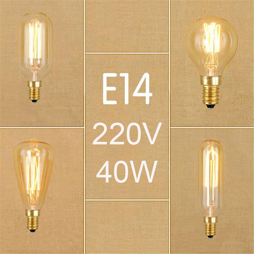 220V 230V 240V Vintage 40W E14 Edison Bulbs Retro Incandescent Screw Bulb G45 T25 ST48 T45 E14 Filament Bulbs