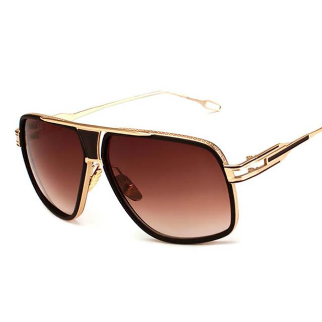 5b17ee6648e7 Oversized Men Sunglasses Brand Designer Women Flat Top Sun Glasses Square  18 K Gold Male Mirror