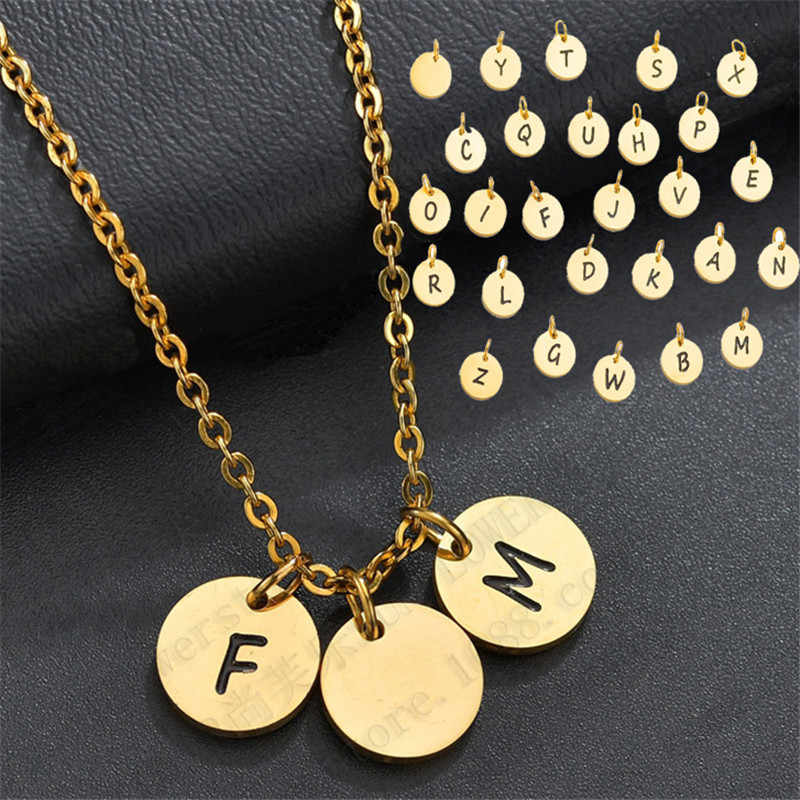 10 ミリメートルカスタマイズされたファッションステンレス鋼 26 Lettle ネックレスパーソナライズされた手紙ゴールドチョーカーネックレスペンダント銘板ギフト