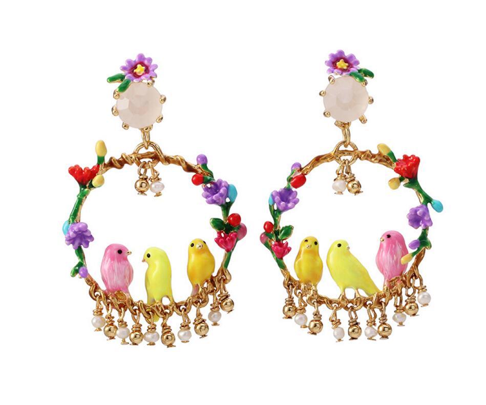 CSxjd New Enamel Glaze Canary flower ring pearl tassel bird Earrings women s jewelry wedding party