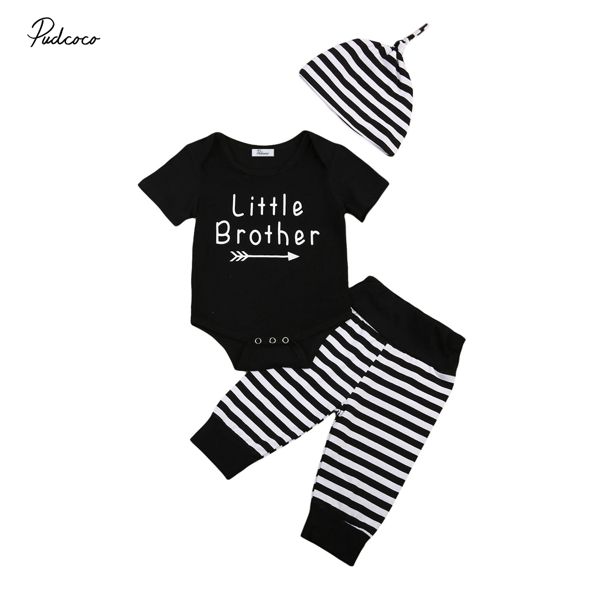2017 Newborn Infant Baby Boy Clothes Set Outfits Clothes Little Brother Boy Romper Jumpsuit Pants 3pcs Outfits Boy Clothes Set newborn infant girl boy long sleeve romper floral deer pants baby coming home outfits set clothes