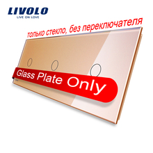 Livolo Lujo Golden Pearl Crystal Glass, 223mm * 80mm, estándar de LA UE, Panel de Cristal Triple, VL-C7-C1/C1/C1-13