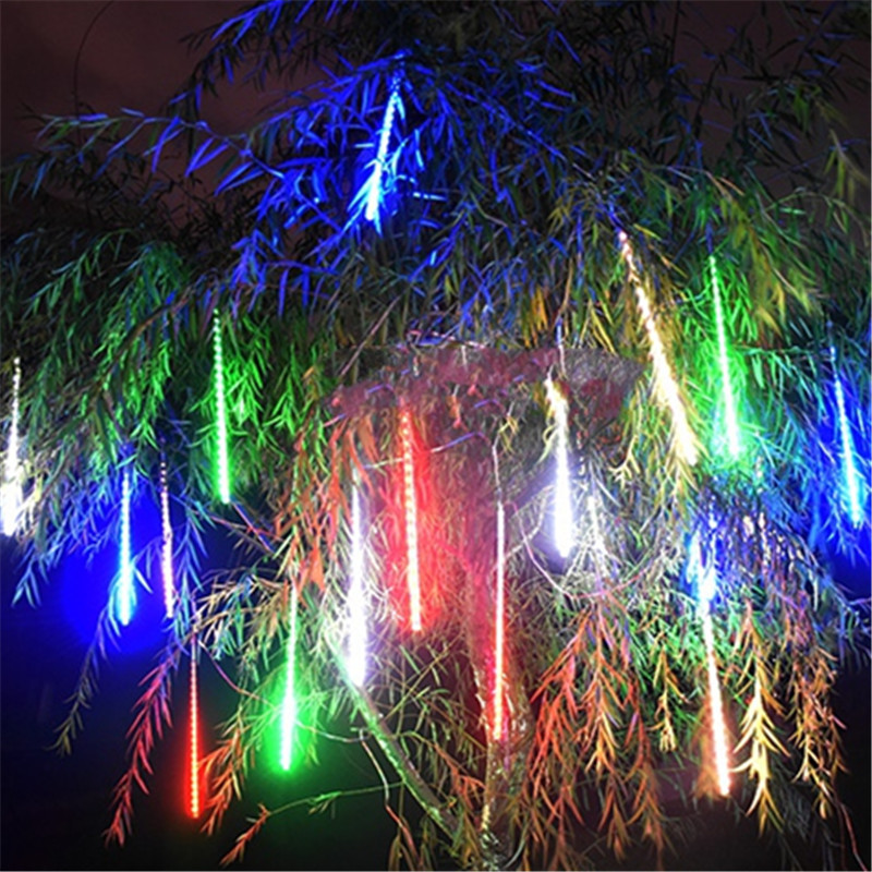 Decorative LED Solar Panel Meteor Shower String Lights New Year Wedding Party Garland Waterproof Garden Outdoor Home Tree Lamp