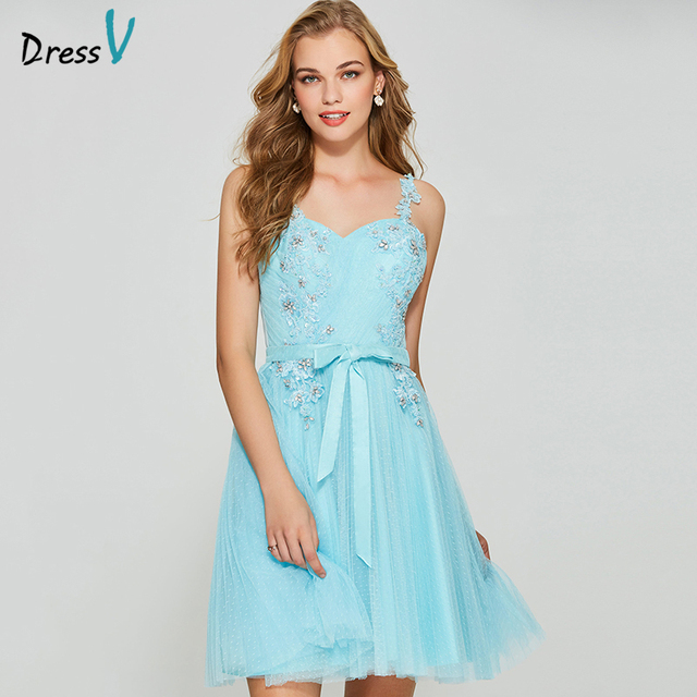 Dressv sky blue elegant homecoming dress a line spaghetti straps backless short mini appliques homecoming&graduation dresses