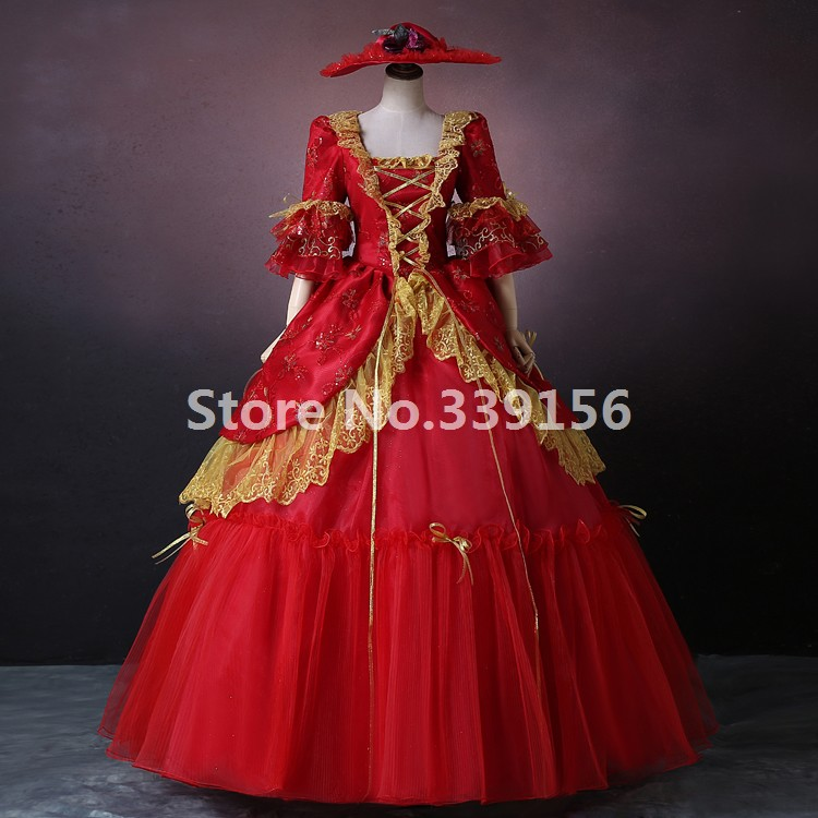 High-end Red Print Rococo Marie Antoinette European Palace Party Dresses Historical Renaissance Wedding Ball Gowns For Women