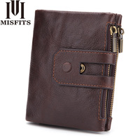 N Genuine Crazy Horse Leather Mens Wallet Man Cowhide Cover Coin Purse Small Brand Male Credit