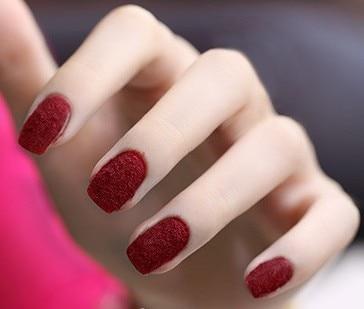 Dark Red Velvet Flocking Dust Powder Fluff Set Nail Art Tip Decoration Polish