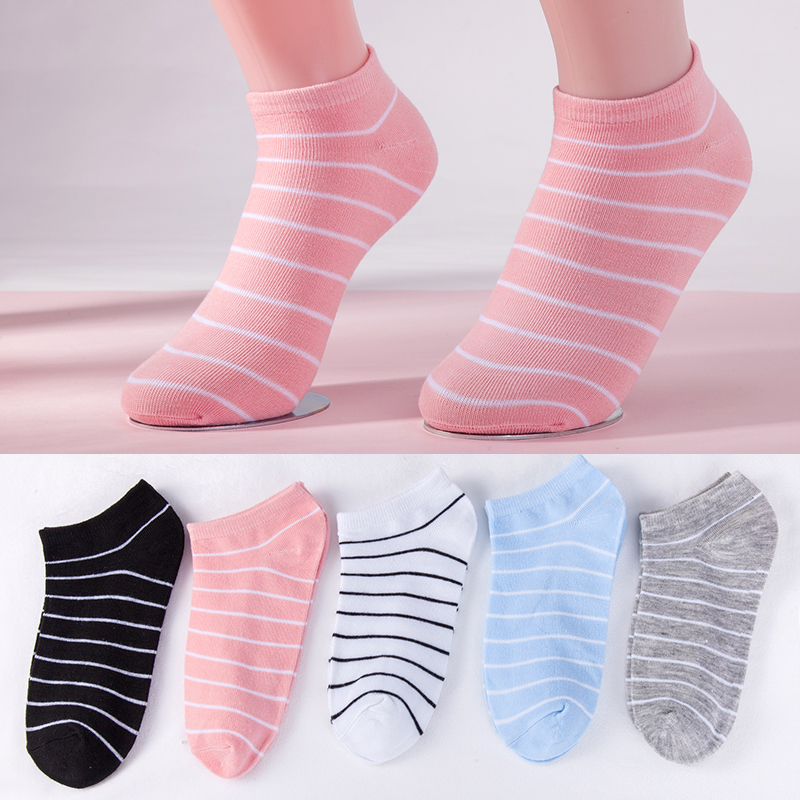 5 Colors Women Socks Girls Striped Casual Boat Socks Fashion Lady Short Ankle Socks 2019 New Style Dropshipping