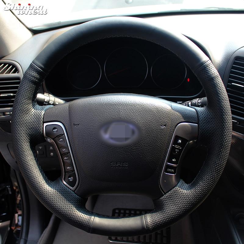 Shining buğday El-dikişli Hyundai Santa Fe 2006-2012 için Siyah Deri Direksiyon Kapağı