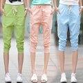 2016 Nova Verão casual harem pants botão do vintage de linho de algodão mulheres calças curtas calças capris senhora branca, verde, azul, rosa S ~ XXL