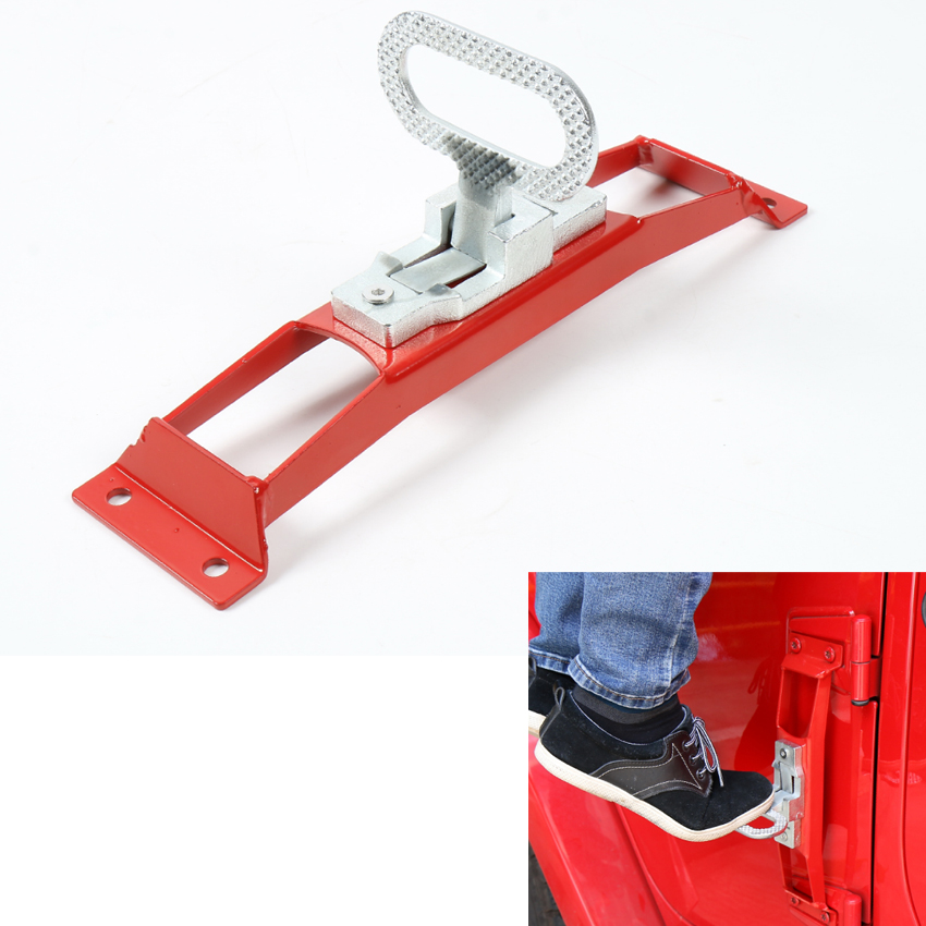 1PC Red Auto Car Door Hinge Hinges Foot Rest Pegs Pedal Fit For Jeep Wrangler JK 2007-2016 No Drilling Exterior Mouldings 4 inch spring hinge automatic closing hinges 90 degree positioning closet stealth door hinge x6