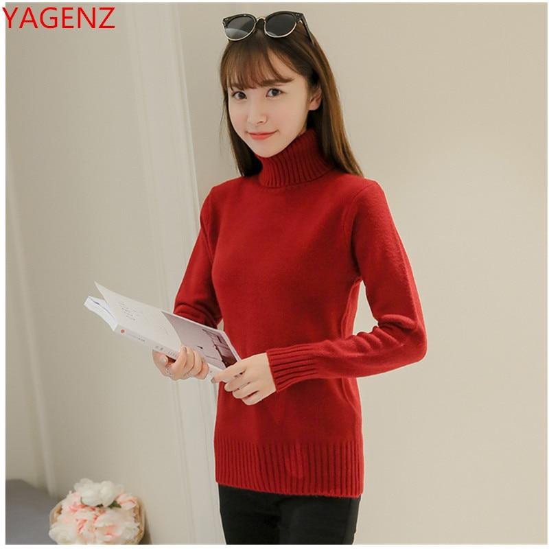 Women's Pullover Ladies Sweater Knit High-Collar Black Autumn Winter Fashion Warm