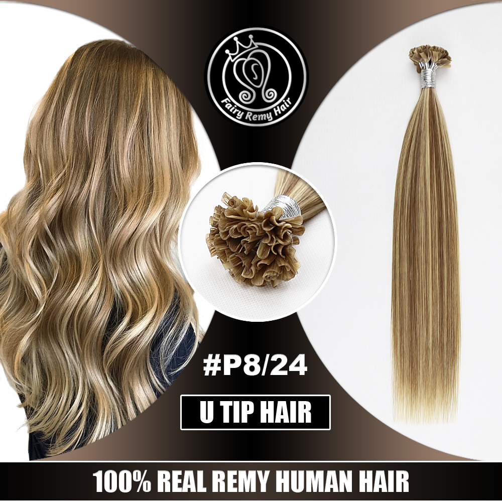 "Nail/U Tip Keratin Pre Bonded Real Remy Human Hair On Capsule Highlight Piano Color #P8/24 0.8g/strand 16"" 18"" 20"" 22"" 40g/pack"