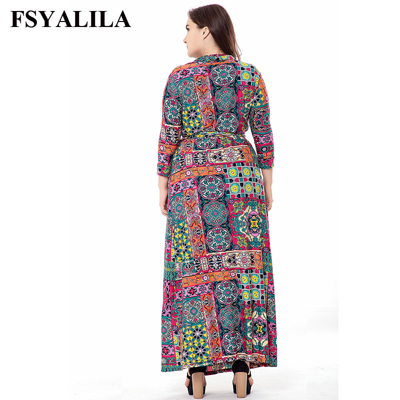 Plus Size 6XL Floral Print Maxi Dress Women 2018 Spring Summer Long Dress  Casual Elegant Office Vestido Long Sleeve V Neck Sash-in Dresses from  Women s ... bfd12ea91c80