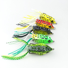 1 pc New Soft Frog Lure Bass Fishing Double Hooks Bait Crankbaits fishing Tackle Topwater Gear Accessories 5 colors 141+