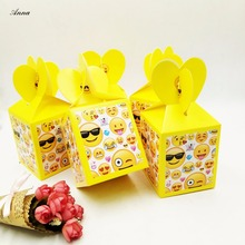 6pcs/lot  Emoji Birthday Party Decorations Candy Box Kids Supplies Favors