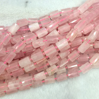 Wholesale Natural Genuine Pink Crystal Rose Quartz Faceted Hand Cut Tube Loose Beads Barrel Column Beads