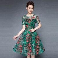 Plus size Middelbare Leeftijd en oude vrouwen zomer dragen de nieuwe show dunne hoge taille moeder jurk P7EH6098