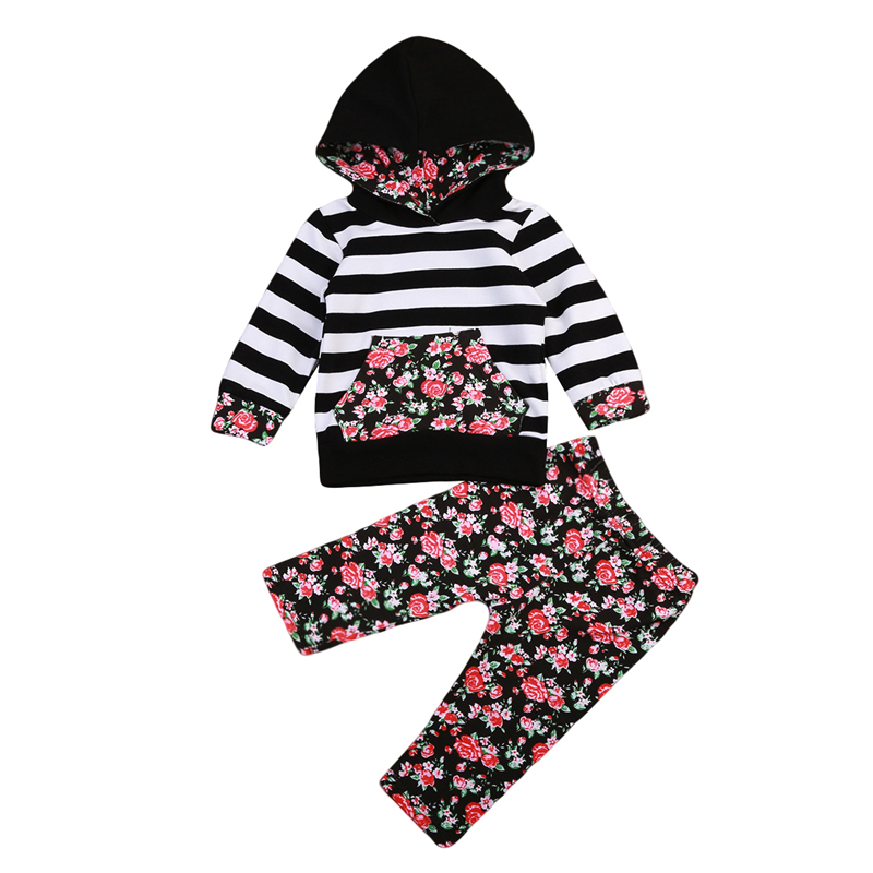 Baby Floral Clothing Set 2Pcs Bebes Baby Girls Cotton Striped Hooded Top Sweater Pants Outfits 2017 New Fall Girl Clothes 0-2T