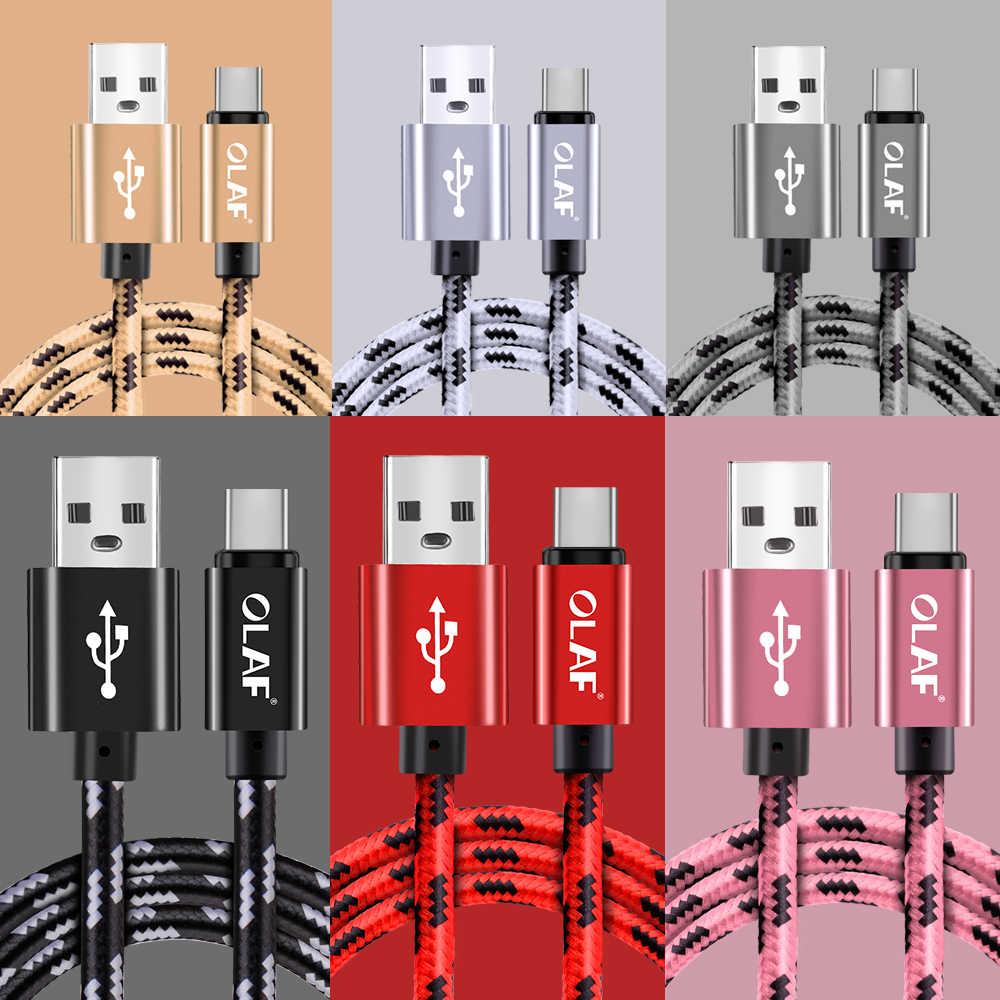 أولاف نايلون مضفر 2.4A نوع C المصغّر usb سريع كابل شحن سامسونج S7 S8 s9 plus نوت 8 9 هواوي شاومي mi8 USB-C كابل
