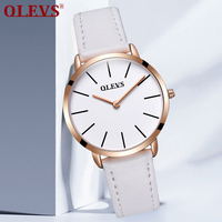 Special Offer OLEVS Women S Watches Top Brand Luxury White Genuine Leather Quartz Rose Gold Watch