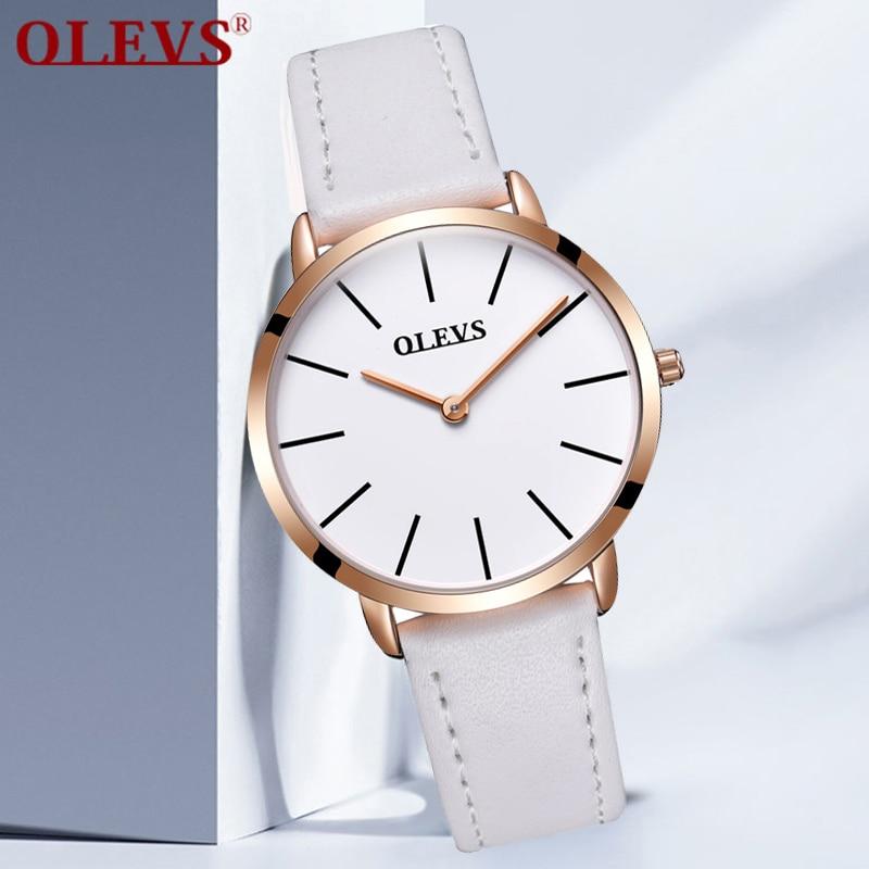 Īpašais piedāvājums OLEVS Sieviešu pulksteņi Top zīmola luksusa balta īstas ādas kvarca rožu zelta pulkstenis