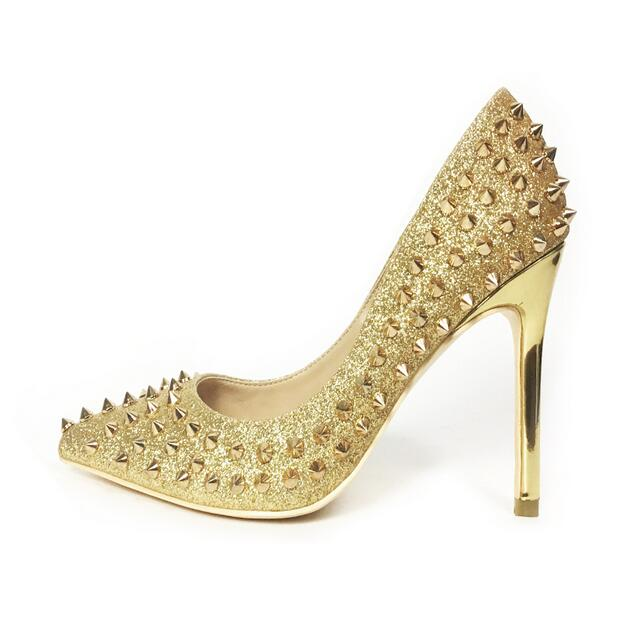 Newest Rivets Studded High Heel Pumps Sexy Pointed toe Gold Glitter Embellished Woman Shoes Slip on Thin Heel Wedding Party Shoe