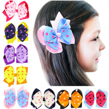 1pc boutique barrettes for children hair ribbon bows clips for girls hairpins double clip accessories headdress Hairgrips HC097