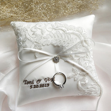 Wedding Ring Pillow Customized Name wedding date Embroidered word Bridal Pillows Valentine Day Festive Supplies Party Decor